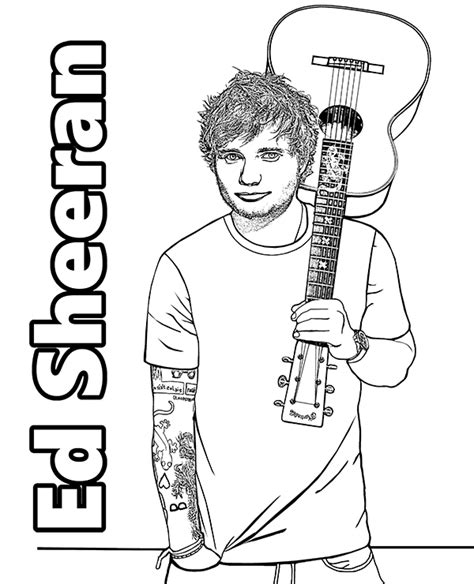 Edward Ed Sheeran coloring page   celebrity to color