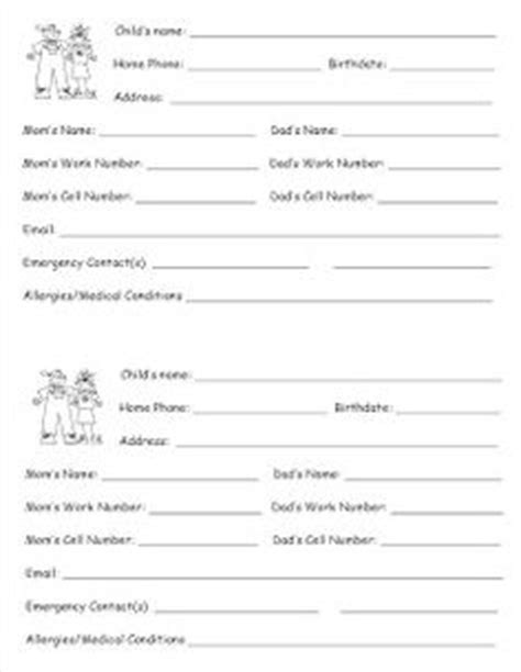 daycare emergency contact card template 1000 images about preschool forms on children