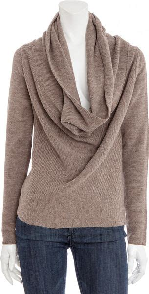 draped cowl neck sweater vince draped cowl neck wool sweater in brown lyst