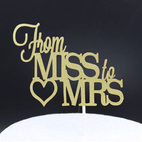 From Miss To Mrs Wood Cake Topper shiny gold from miss to mrs cake topper wedding