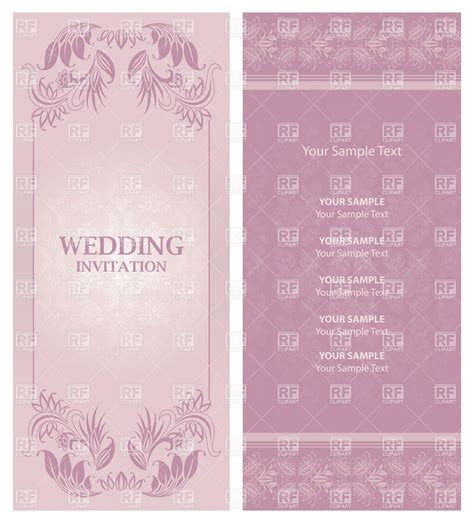 ornate violet wedding invitation template vector image