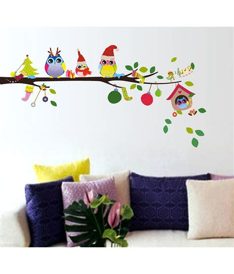 decorative items for home online stickerskart merry christmas winter owls decor wall decor multicolour buy stickerskart merry