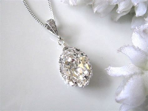 swarovski jewelry swarovski drop bridal necklace bridal jewelry