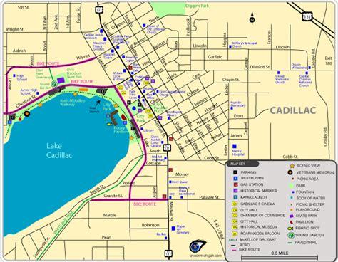 cadillac city michigan maps of cadillac area parks trails historic spots