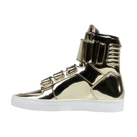 gold mens sneakers radii point mens gold leather high top lace up sneakers