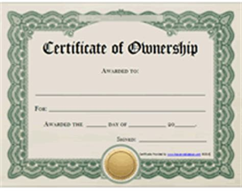 Certificate Of Ownership Template free printable certificates of ownership form templates
