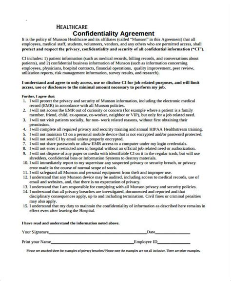 hipaa confidentiality agreement template 19 confidentiality agreement forms in pdf free