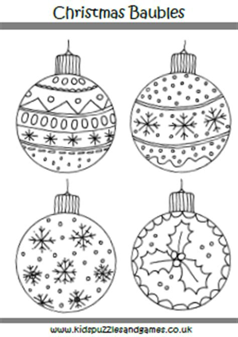 baubles to colour in colouring sheets puzzles and