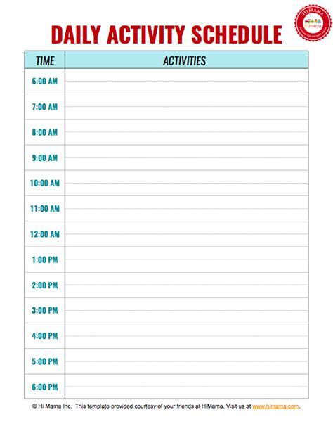 free printable daily schedule template daycare daily schedule template daycare daily schedule