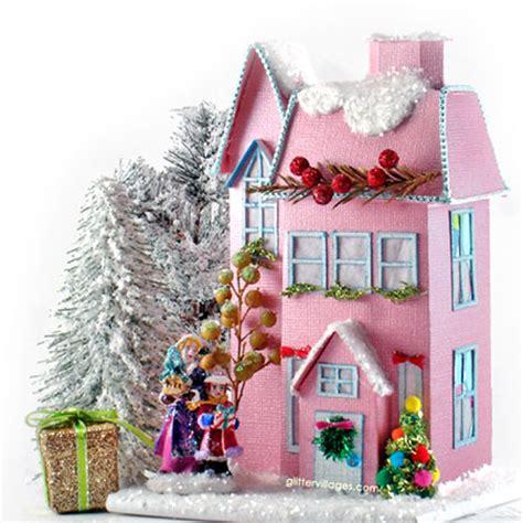 printable christmas village house robin miniature glitter villages