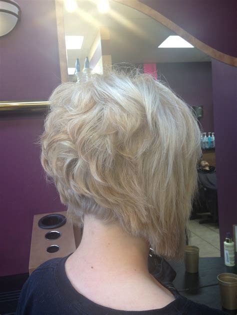 Short stacked bob with platinum blonde color.   Things I
