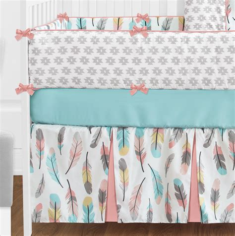 turquoise baby bedding coral turquoise pink grey white gold bohemian feather girl
