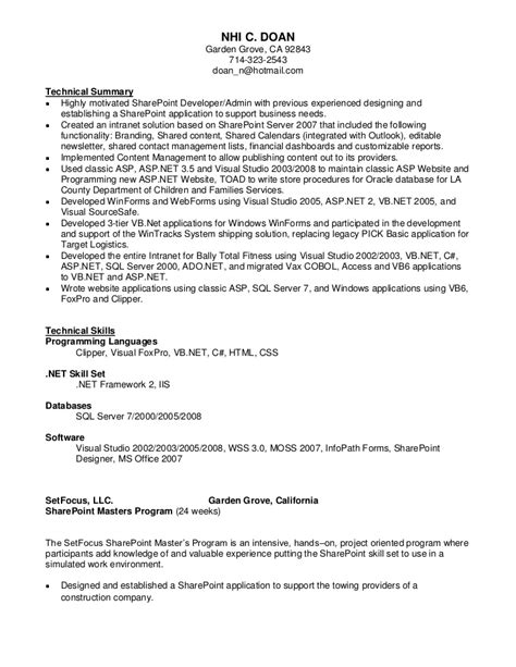Experience On A Resume Examples by Nhi Doan Sharepoint Resume