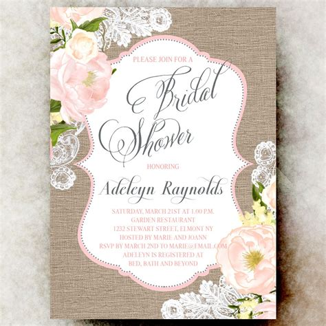 coral grey burlap lace bridal shower invitation shabby