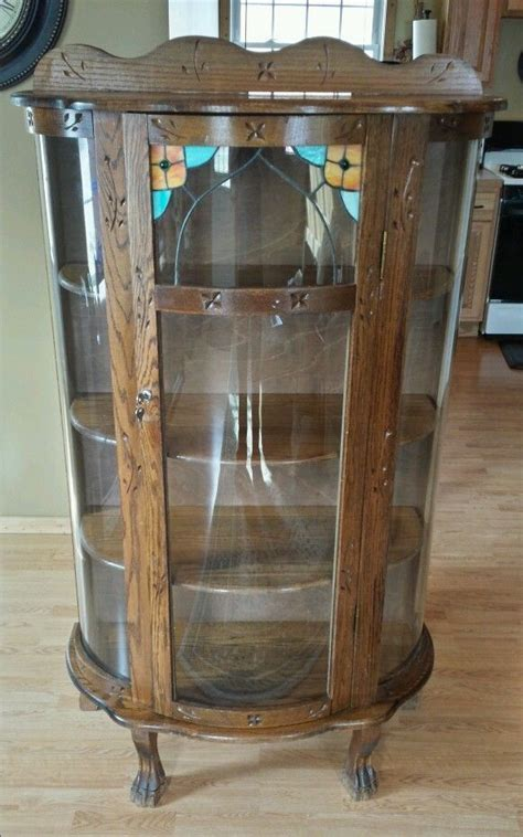 antique curved glass china cabinet antique oak china cabinet curved glass antique furniture