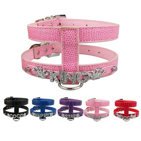 personalized harness personalized harness diy pet name snake skin pu leather s m l price free name free