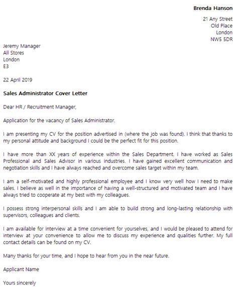 cover letter sles uk sales administrator cover letter exle icover org uk