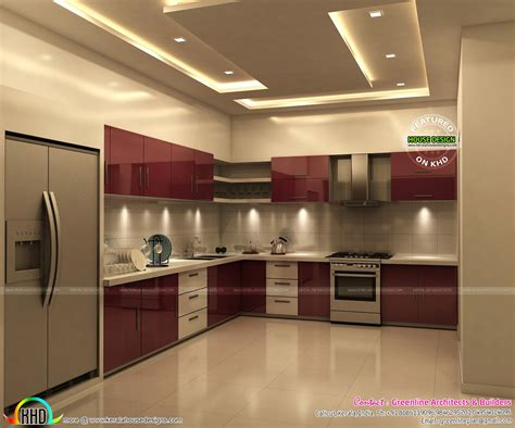 interior design of a kitchen superb kitchen and bedroom interiors kerala home design