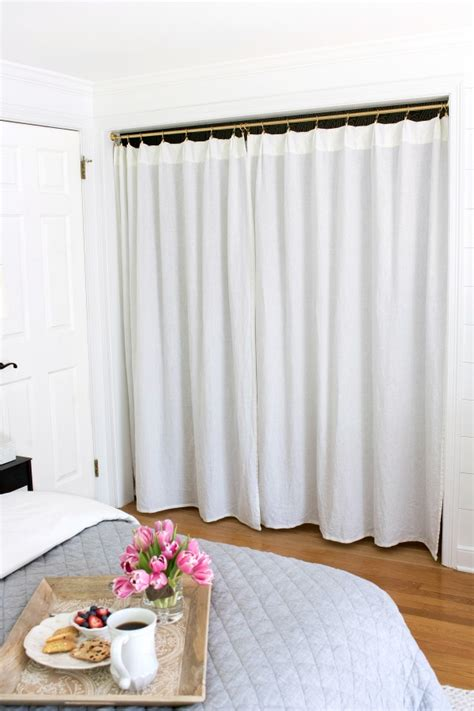 curtains for a closet replacing bi fold closet doors with curtains our closet