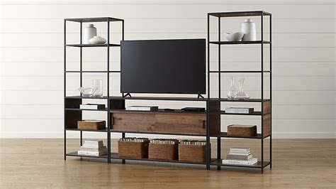 media console with bookcases media console with 2 open bookcases crate and