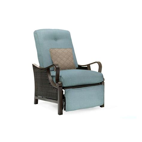 Wicker Patio Lounge Chairs Hanover Ventura All Weather Wicker Reclining Patio Lounge Chair With Blue Cushion