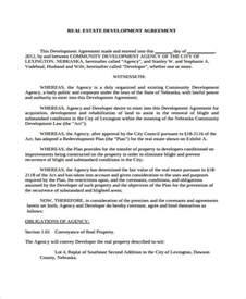 Real Estate Development Agreement Template Business Agreement Form Template