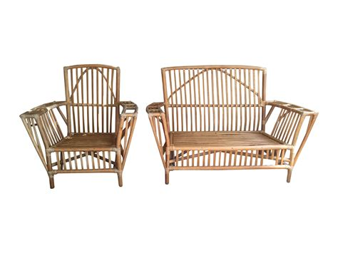 bamboo lounge chairs stick wicker bamboo lounge chair settee a pair chairish