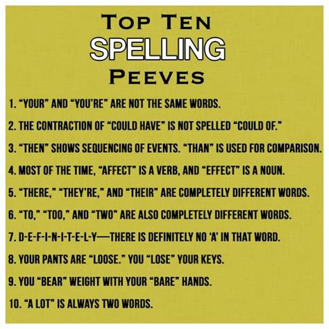 Top 7 Peeves With Dating by Top 10 Spelling Peeves Other Ideas Language Arts