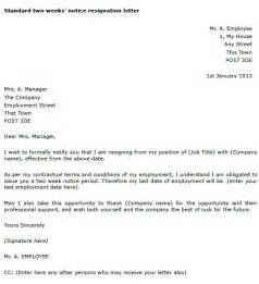 Sle Letter Of Resignation 2 Weeks Notice by Two Weeks Notice Resignation Letter Toresign