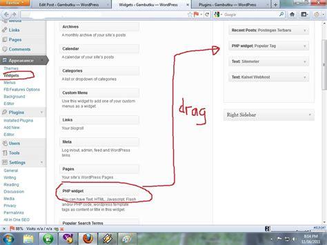 membuat widget wordpress cara membuat tag cloud widget wordpress gambutku