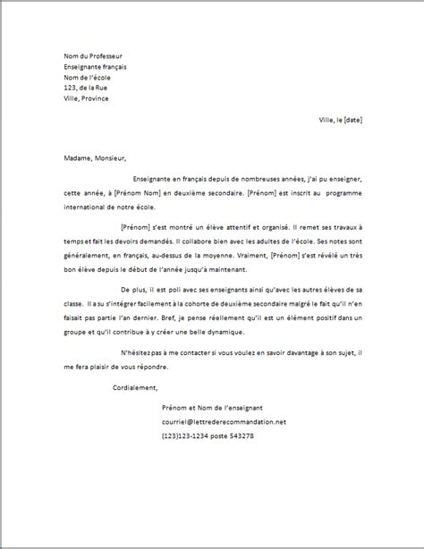 Lettre De Recommandation Usherbrooke Letter Of Application Lettre De Reference Exle