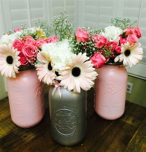 Jars For Baby Shower by Centerpieces For My Pink And Gray Baby Shower Jar
