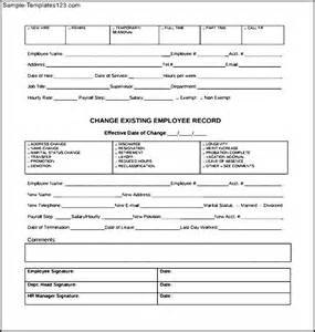 payroll change notice form template employee payroll personnel change form sle templates