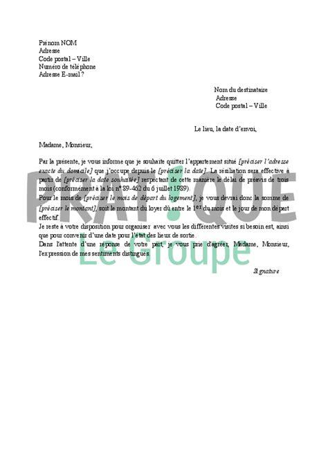Lettre De R Siliation Jardin lettre r 233 siliation de bail pratique fr