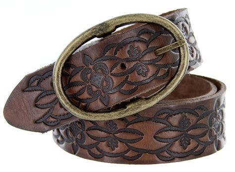 leather belt western floral embossed grain