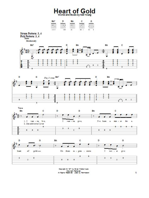 strumming pattern heart of gold heart of gold by neil young easy guitar tab guitar