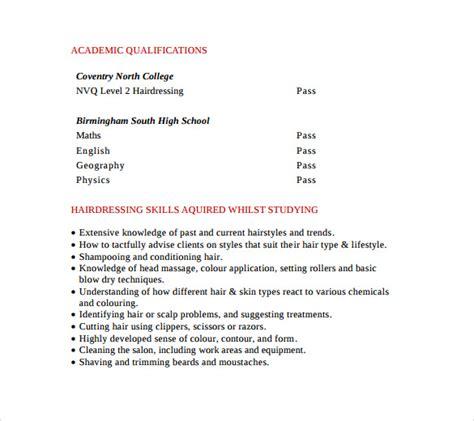 hair stylist cv template sle hair stylist cv template 6 free documents