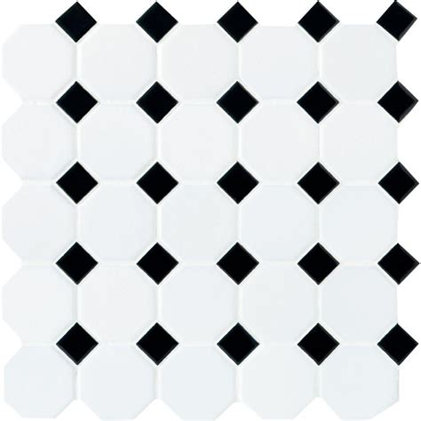 Home Depot Kitchen Design Help by Daltile Matte White With Black Dot 12 In X 12 In X 6 Mm