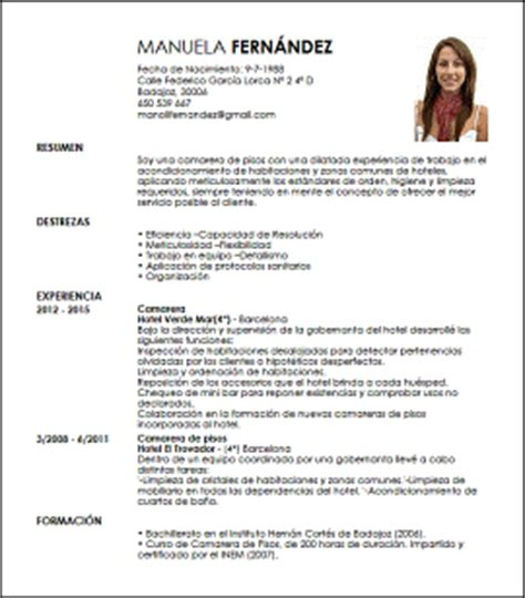 Modelo Curriculum Vitae Camarero Modelo Cv Camarera De Pisos Livecareer