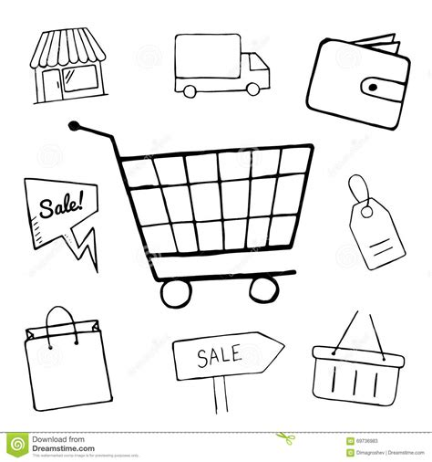 doodle shopping set of business doodle icons shopping icons for design