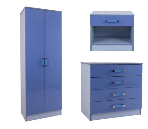 Blue Bedside L Gfw Ottawa 2 Tones High Gloss Wardrobe Chest And Bedside
