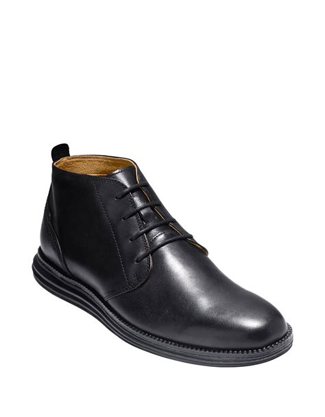 cole haan original grand leather chukka boots in black for