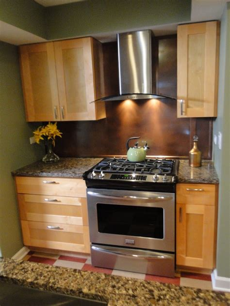 copper appliances kitchen maple shaker cabinets with stainless steel