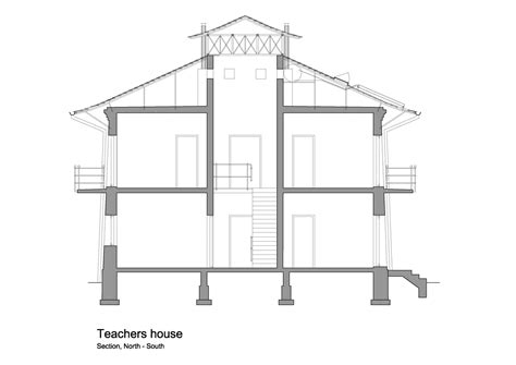 technical drawing section maison des enseignants plans tarab institute france