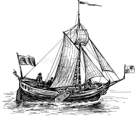 boat illustration drawing sketch of the sailing boat stock vector image 42022359