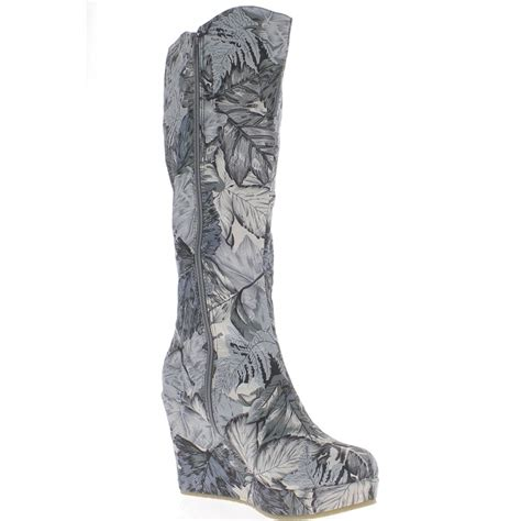 Wedges 5 Cm wedge boots gray floral motifs to 9 5 cm heel