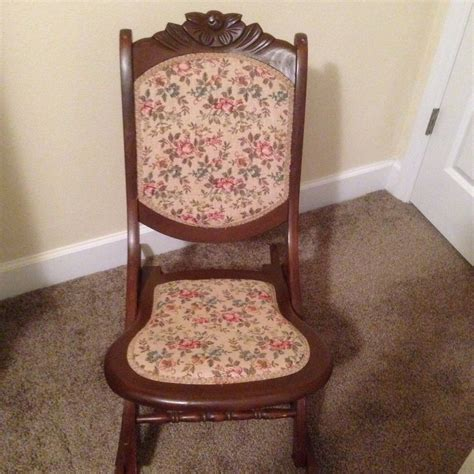 Antique Folding Rocking Chair by Antique Folding Rocking Chair Solid Wood And Tapestry
