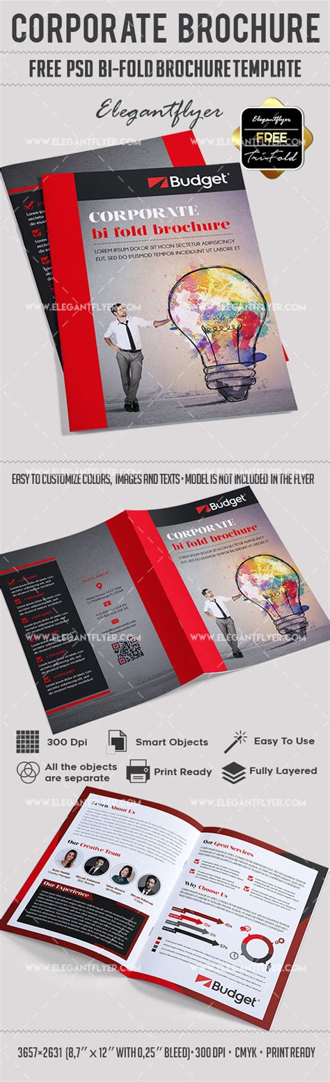bi fold card template corporate free psd bi fold psd brochure template by