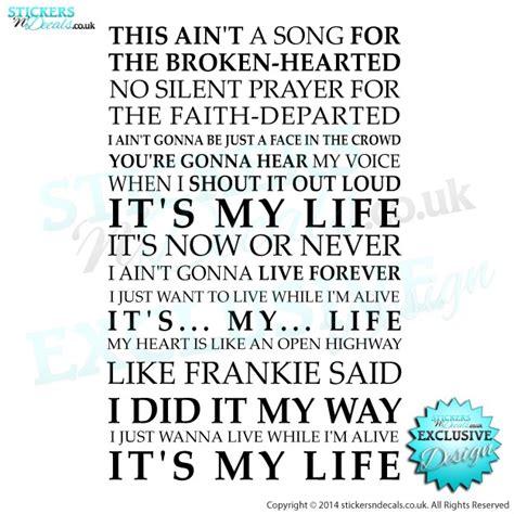 pattern select lyrics it s my life bon jovi lyrics wall art sticker decal