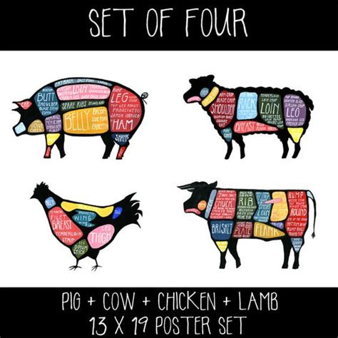 butcher cow diagram pig and cow butcher diagrams set of two quot use every part